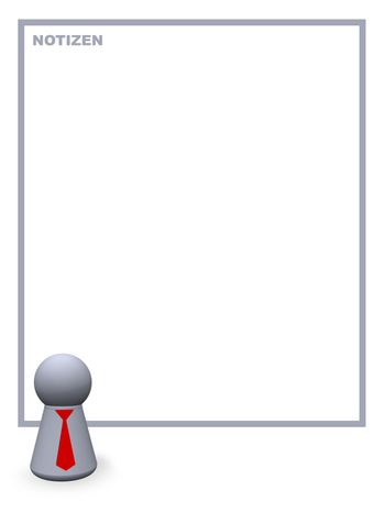 play figure with red tie and background for notes