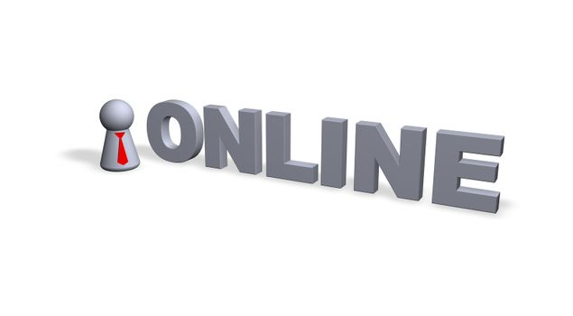 online text in 3d and play figure with red tie
