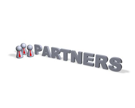 partners text in 3d and play figures with red tie
