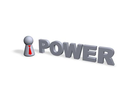 power text in 3d and play figure with red tie