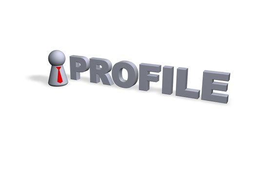 profile text in 3d and play figure with red tie