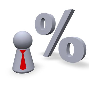 per cent symbol and play figure with red tie