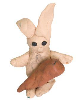 Hare stuck together from plasticine