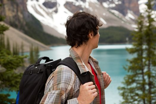 Man Looking at Mountain Lanscape