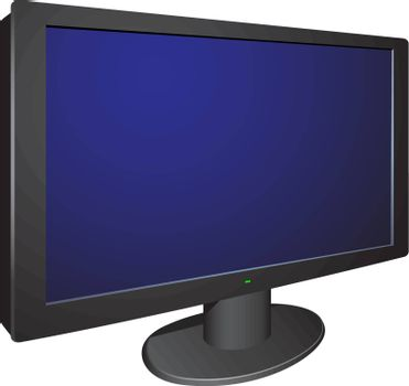Modern black 3d wide tv on the round holder isolated on the white background