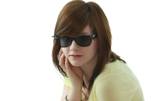 Young girl with black sunglases