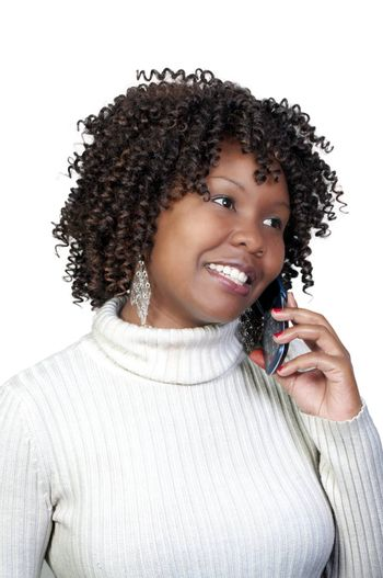 An African American woman talking on the phone