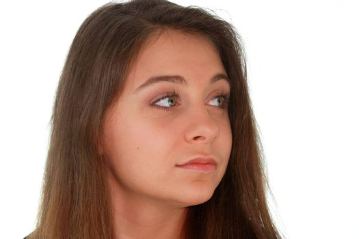 Teen portrait isolated on white background