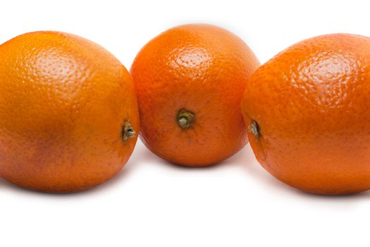 Three oranges, invoice of the skin insulated on white background