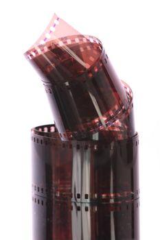 Close up of curling 35mm film