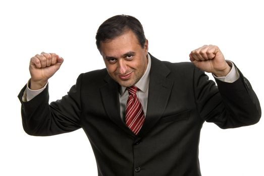 successful business man with arms isolated on white