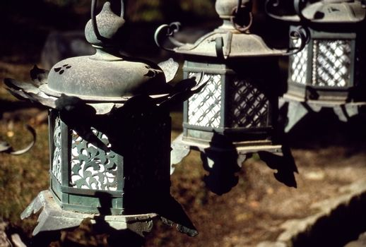Line of antique cast-iron lanterns