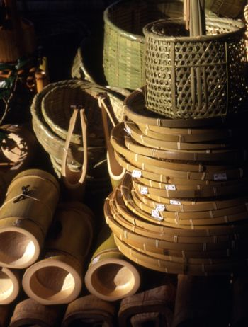 Hand craft bamboo baskets Kyoto Japan