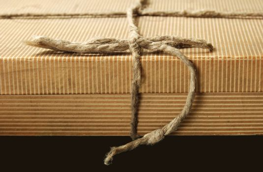 old box with natural string