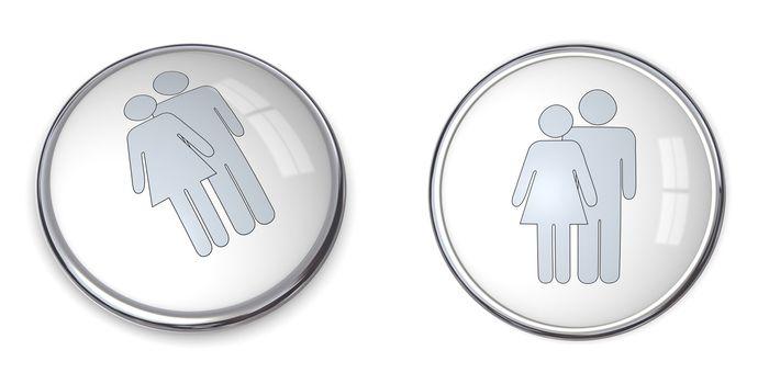 3D Button Couple Pictogram