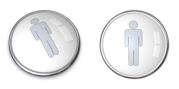3D Button Male Pictogram