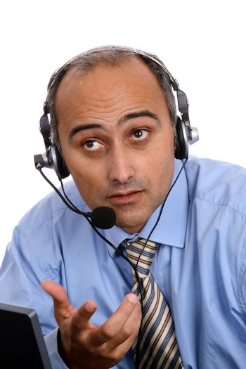 sexy man in a business call center