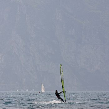 wind surfer at garda lake in italy