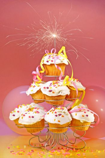 Cupcakes with sparkler on top