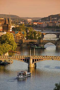 Bridges in Prague over the river Vltava at sunset