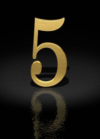 5 Gold Number on black background - 3d image