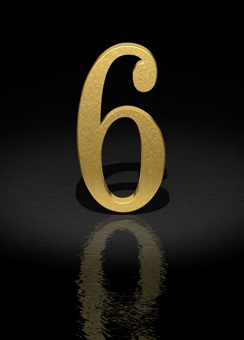 6 Gold Number on black background - 3d image