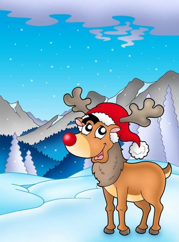Christmas theme with cute reindeer - color illustration.