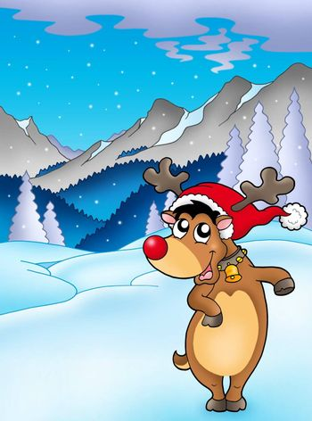 Christmas theme with happy reindeer - color illustration.