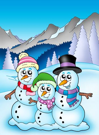 Winter theme with snowman family - color illustration.