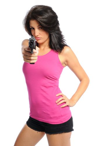woman plays with a gun