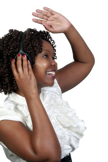 A black woman with headphones listening to music or learning a language