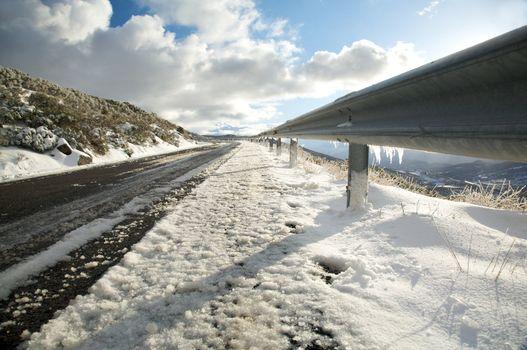 ice on guard rails