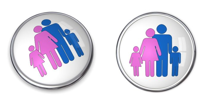3D Button Family With Kids Pictogram