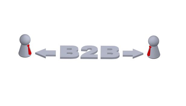 B2B text in 3d, play figures with red tie and pointers