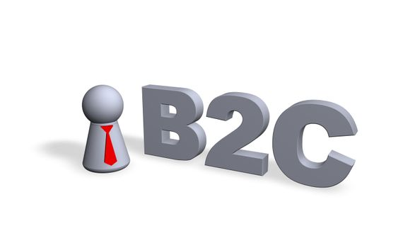 b2c text in 3d and play figure with red tie