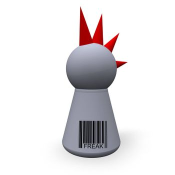 play figure punk with red hairs and barcode