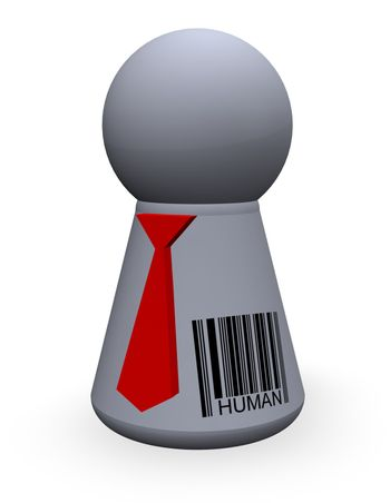 play figure with red tie and barcode
