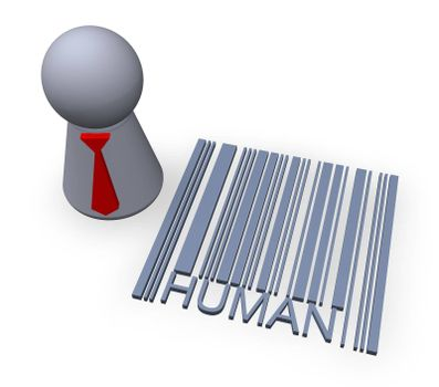play figure with red tie and 3d barcode human
