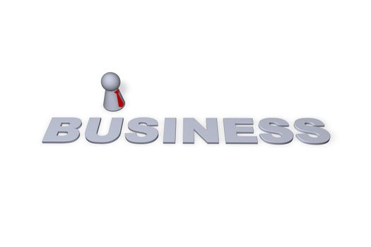 business text in 3d and play figure with red tie