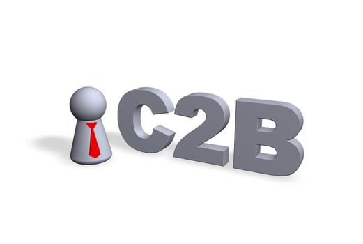 C2B text in 3d and play figure with red tie