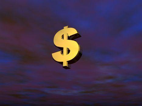 3d dollar sign on a dark sky