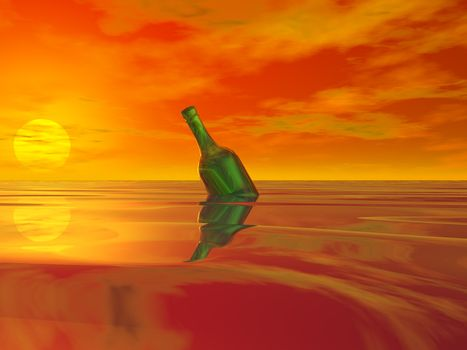 green bottle in the ocean and colorful sky