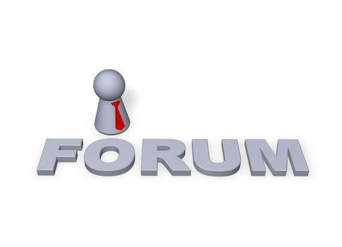 forum text in 3d and play figure with red tie