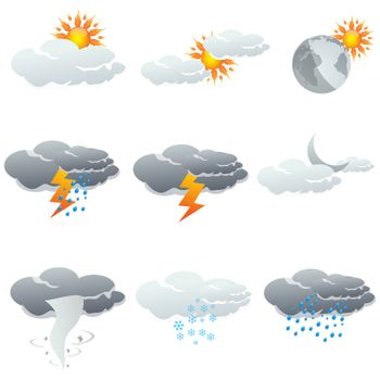 illustration of set of clouds showing different weather