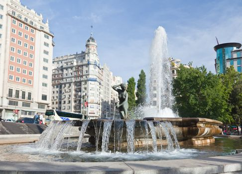 The Satue at the Spain Square in Madrid, Spain