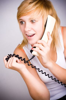 woman with retro telephone