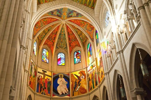 The interior of Cathedral of Almudena in Madrid, Spain
