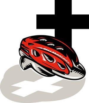 cycling crash helmet with cross