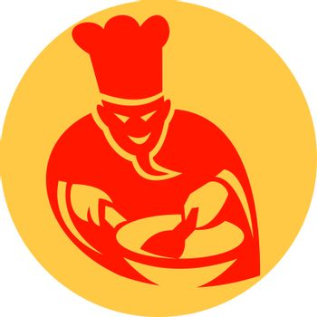 Demon cook with wok icon