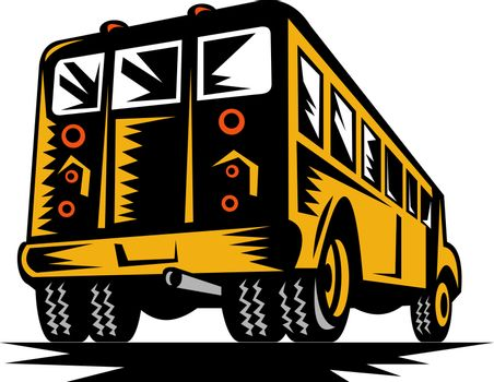 illustration of a vintage yellow school bus viewed from the rear